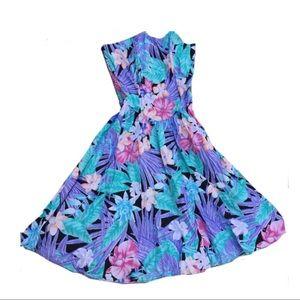 Lerner 80's prom strapless dress floral